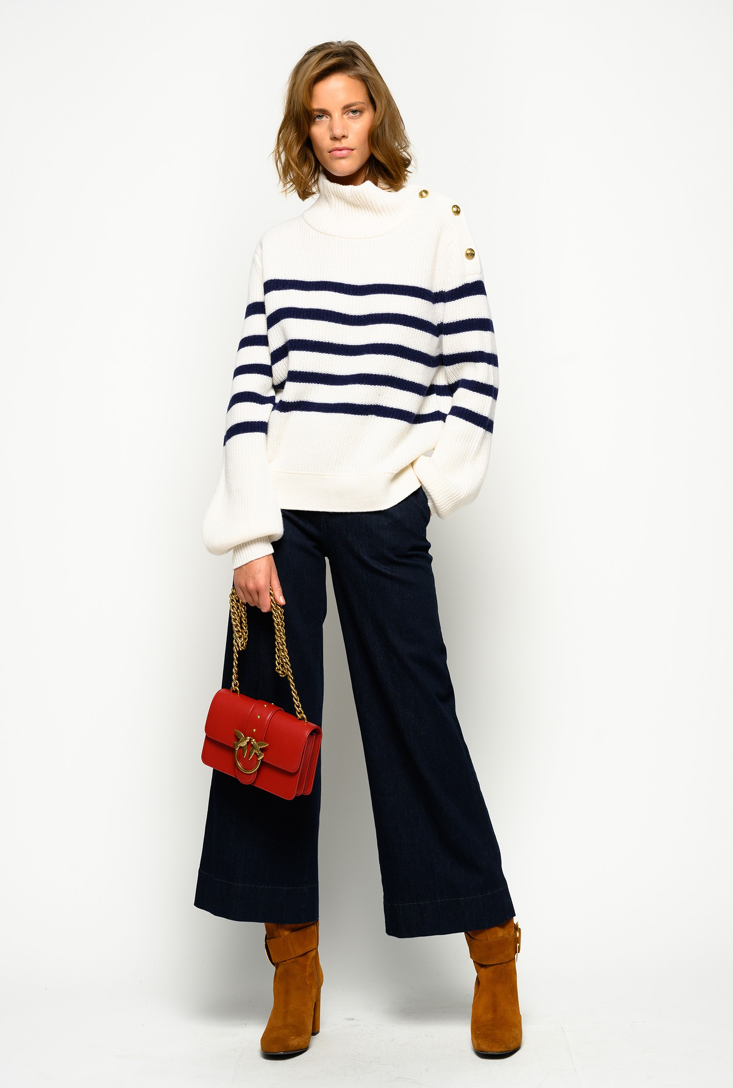 Jeans a palazzo slim in denim twill stretch Pinko