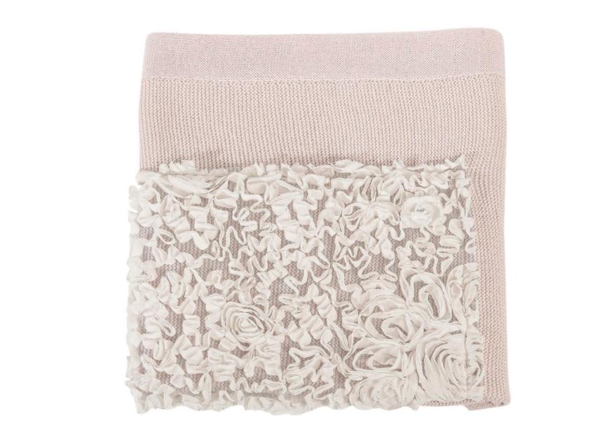 Copertina lana culla ricamata con  Rose linea Luxury Flora Picci