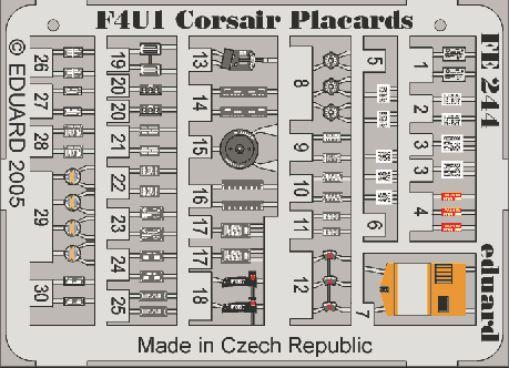 F4U-1 CORSAIR PLACARDS