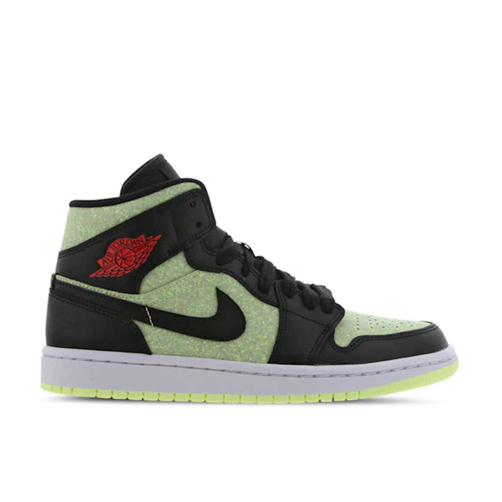 Jordan Air 1 Mid Black Red Lime Unisex