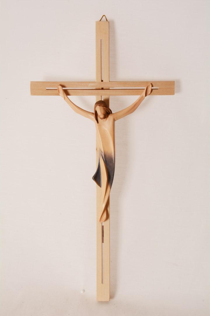 Crocefisso in legno colorato