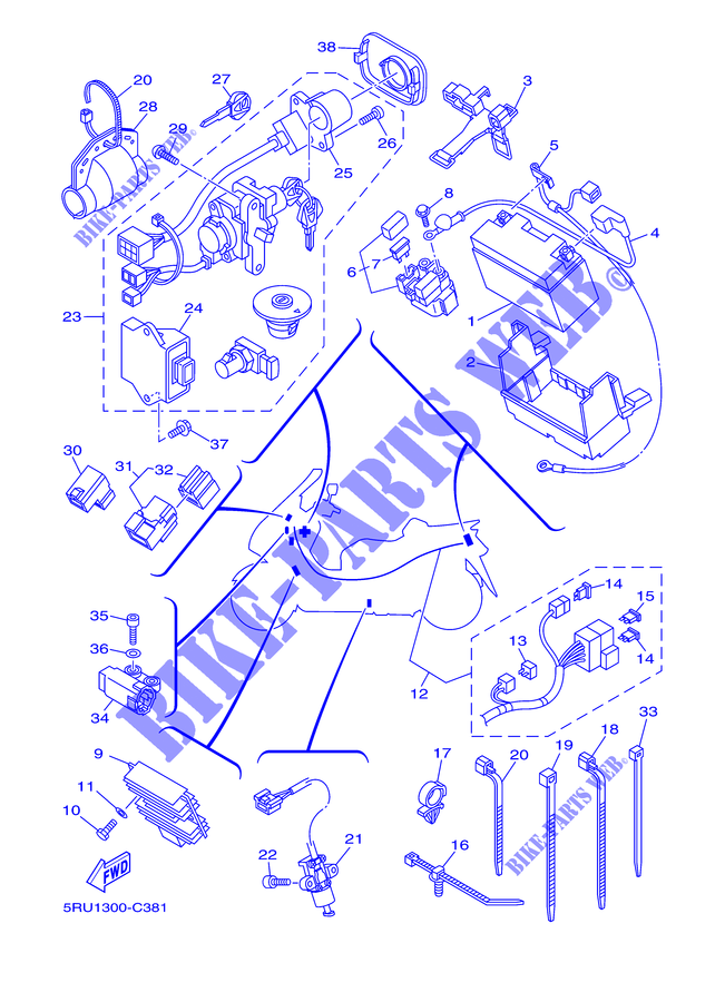 Relé Yamaha X-City/X-Max/Majesty/YZF-R125/YZF-R7/WR