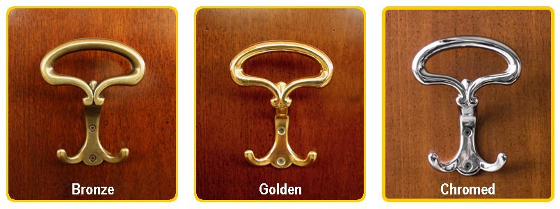 Some examples of coat rack items in bronze, golden and chromed finish.