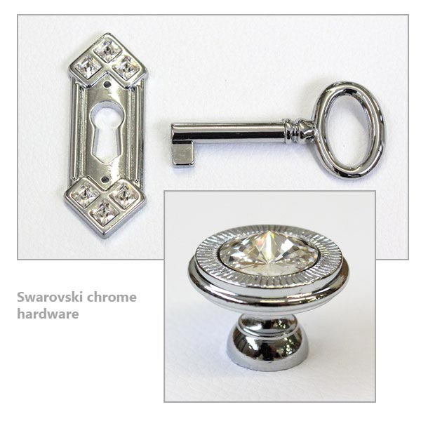 Swarovski chrome hardware
