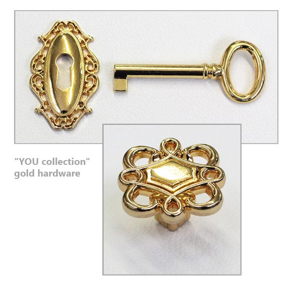 """YOU collection"" gold hardware"
