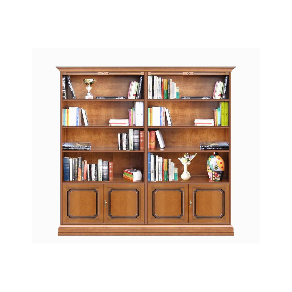double wide bookcase, wooden bookcase, bookshelf, bookshelving, office furniture, study room furniture, bookcase with doors,