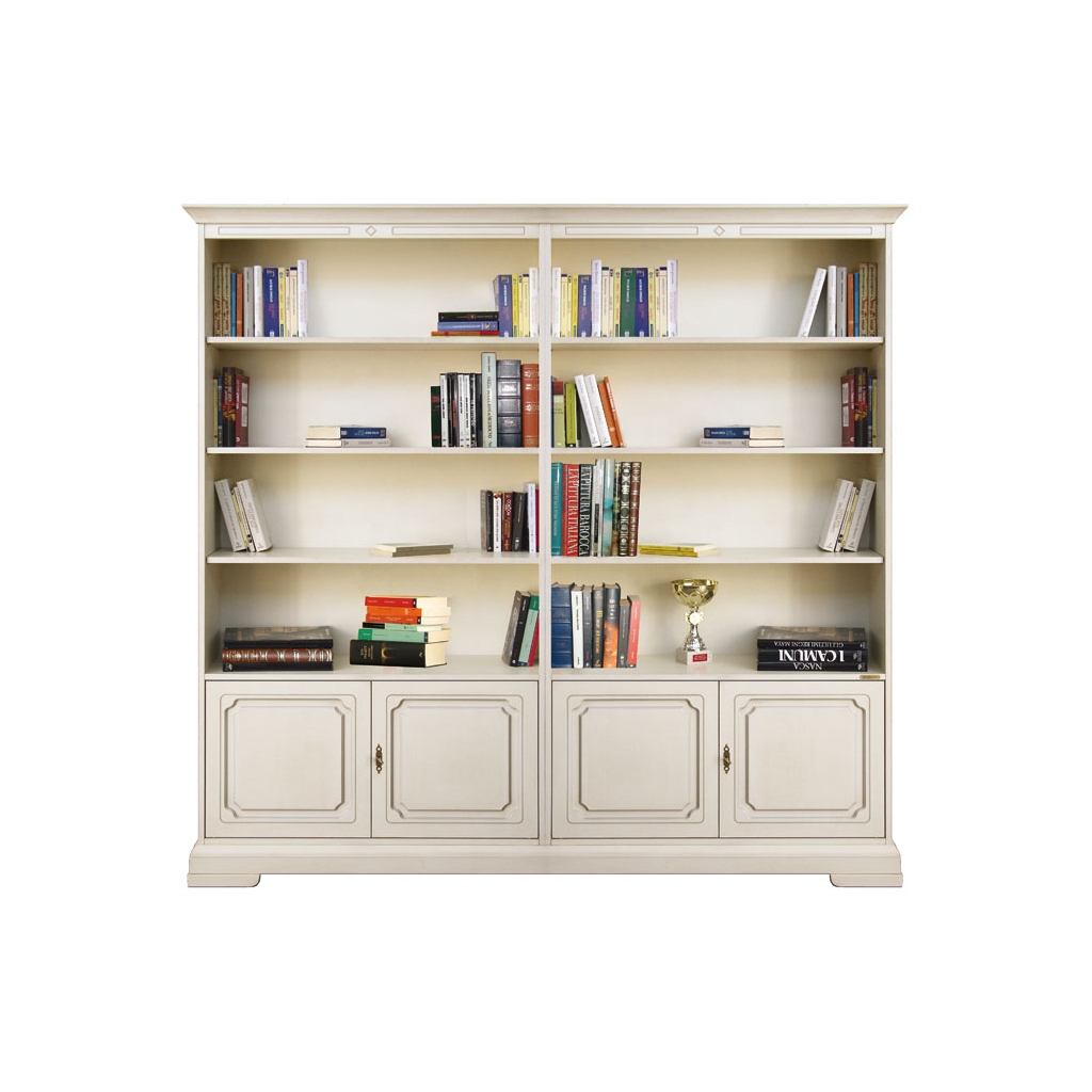double wide bookcase, bookcase, lacquered bookcase, wooden bookcase, office bookcase, bookshelf, bookcase with doors, Italian design, office furniture, living room furniture