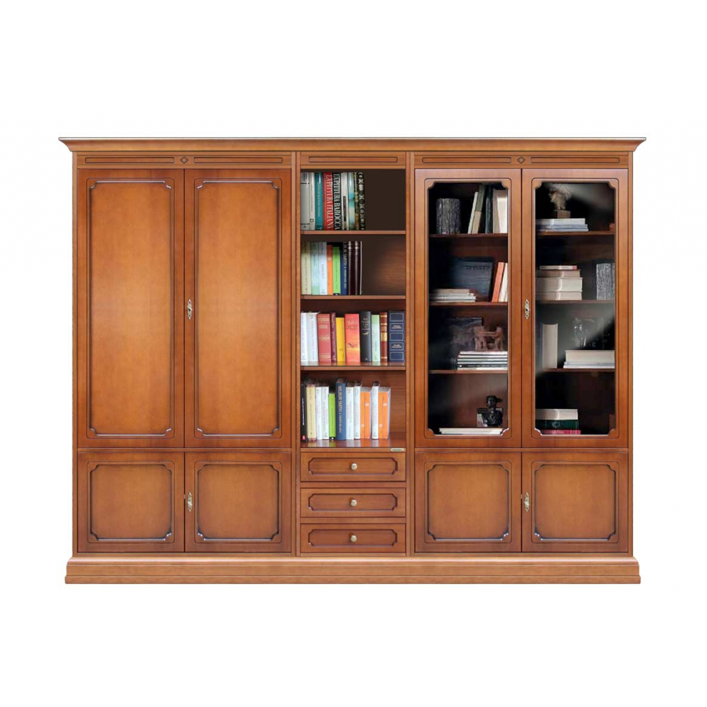 Wall unit with glass doors and shelves, wall unit for living room, classic wooden wall unit