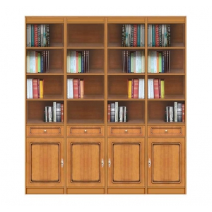 Wooden bookcase open shelving