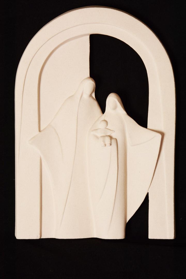 Sacra Famiglia in creta refrattaria cm 29