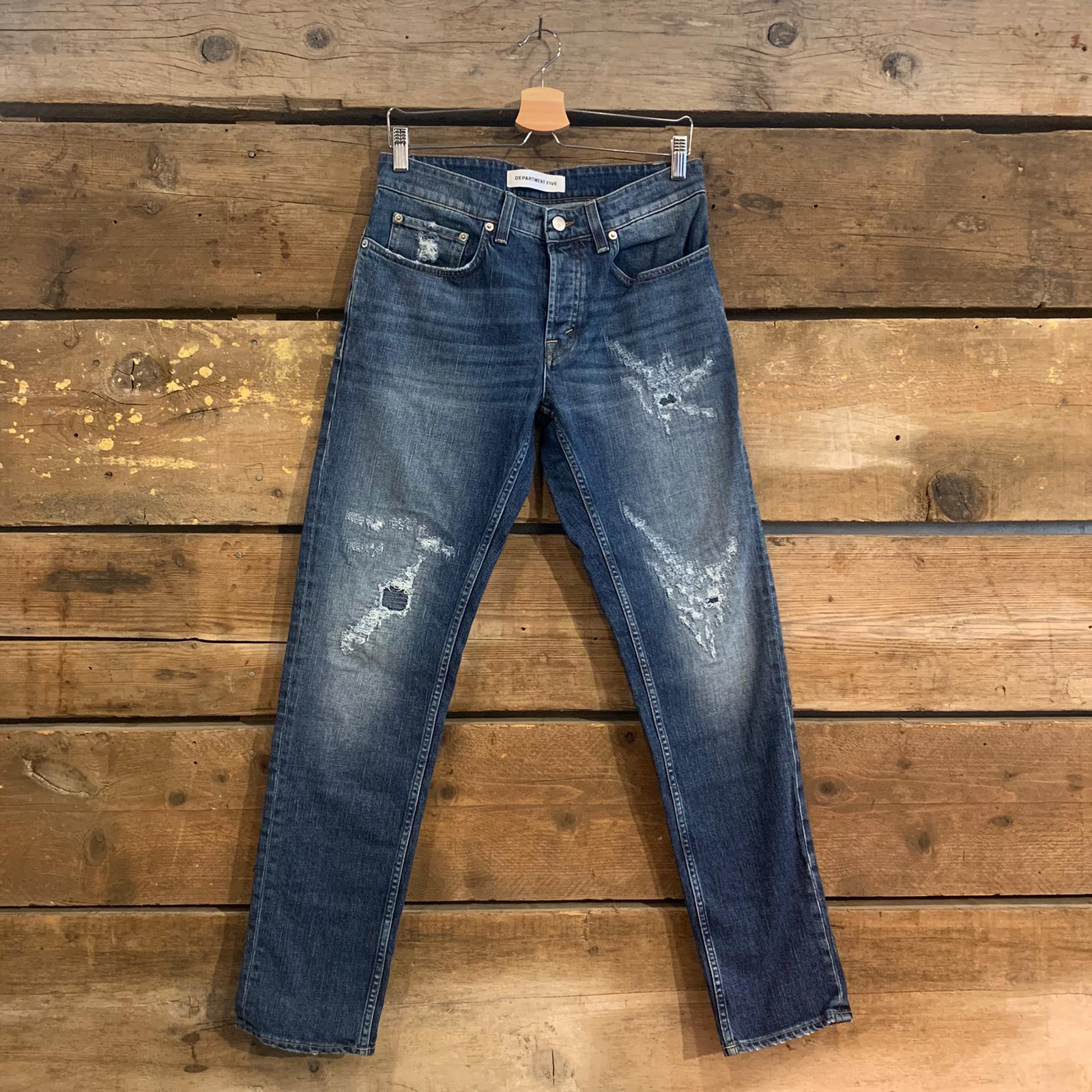 Jeans Uomo Department 5 Keith con Rotture Blu Medio