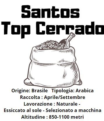 Brasile Santos Top Cerrado Arabica 200gr tostatura scura