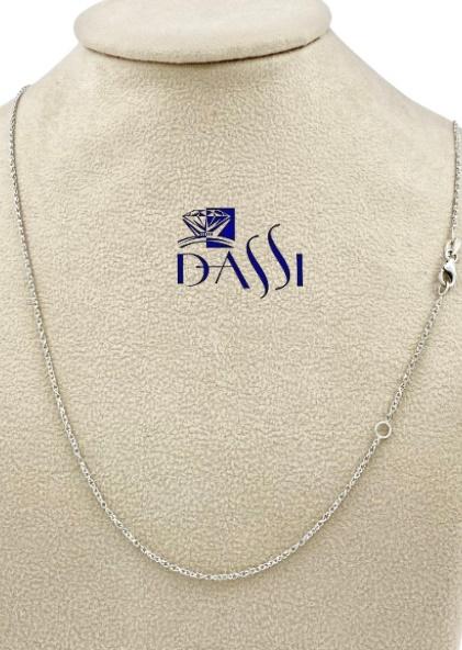 Catena massiccia rolò speciale diamantata in oro bianco 18kt