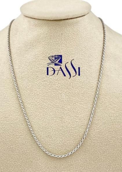 Catena massiccia corda diamantata in oro bianco 18kt lunga 40 cm