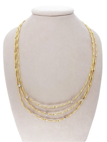 GIROCOLLO BICEGO MINI MARRAKECH IN ORO GIALLO 18KT  CON INCASSATI DIAMANTI