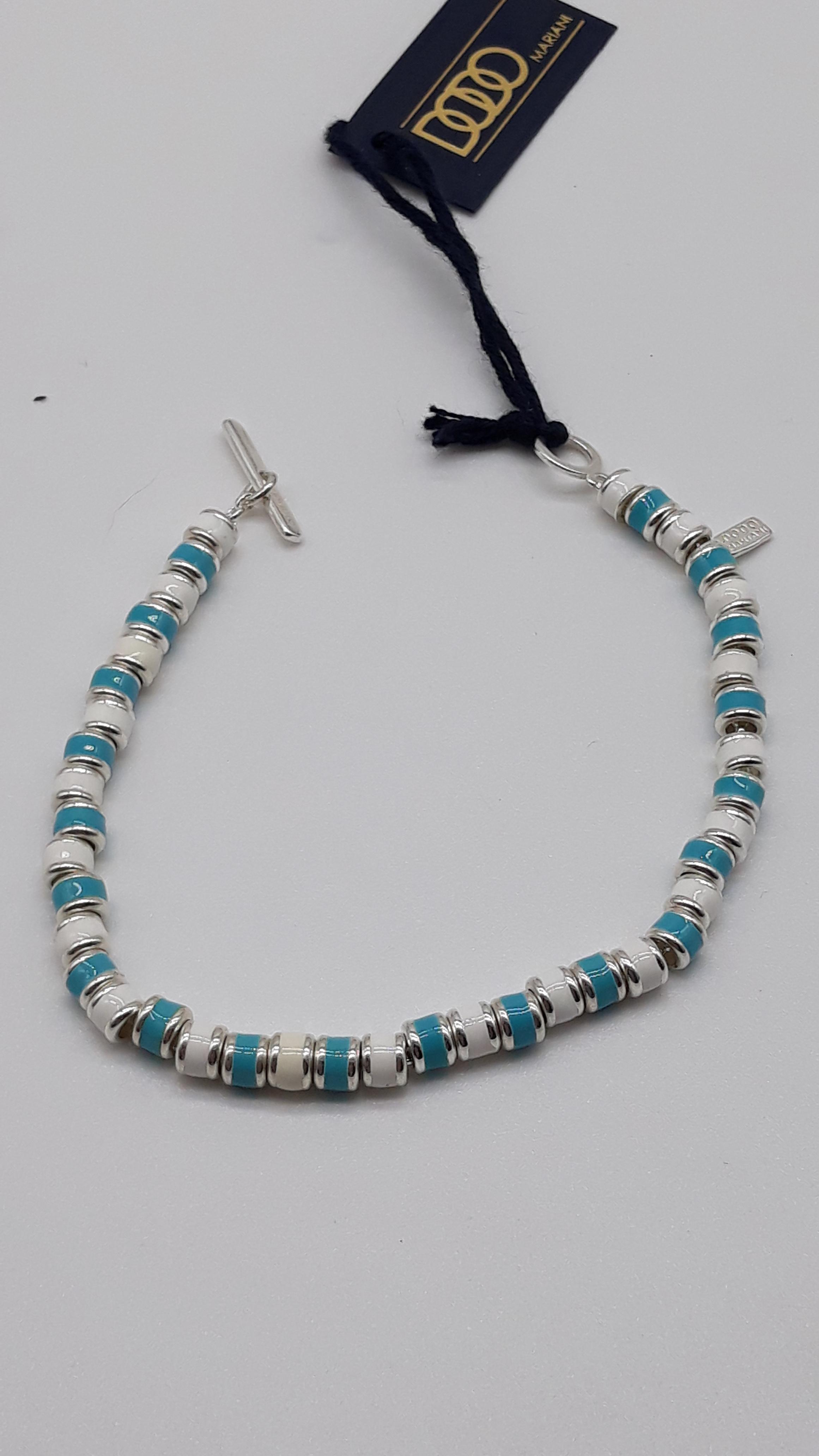 Bracciale DoDo Mariani conchiglie smaltate azzurre bianche, vendita on line | Oreficeria Bruni Imperia