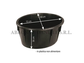 Mastello ovale lt.85 nero senza manici.