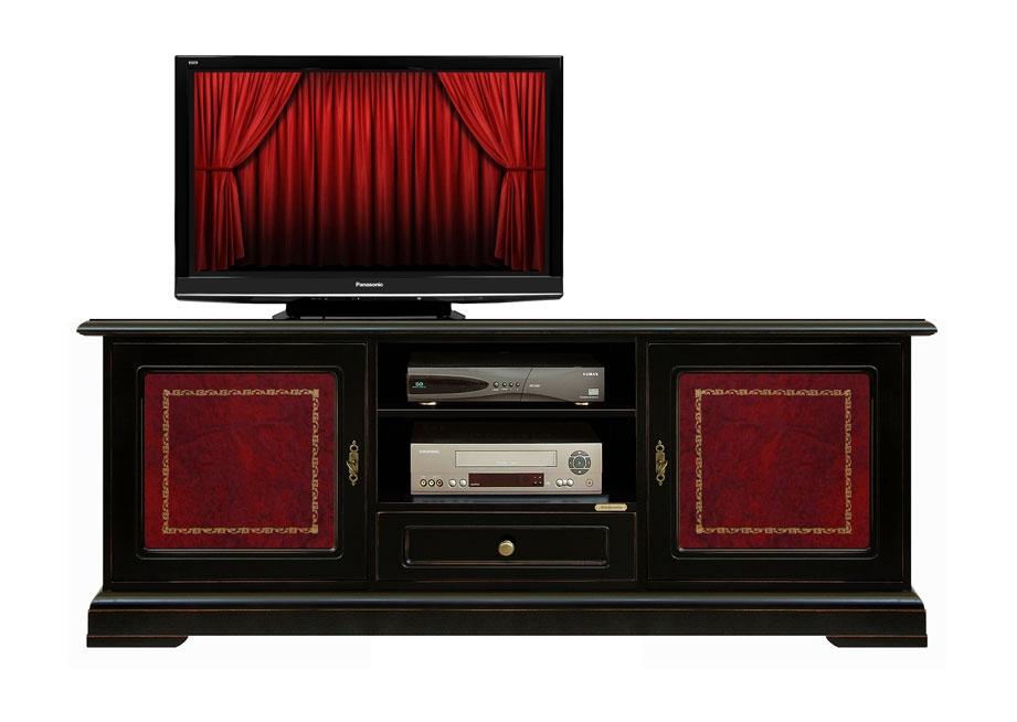 Fernsehmöbel Schwarz mit Leder Vesuvio