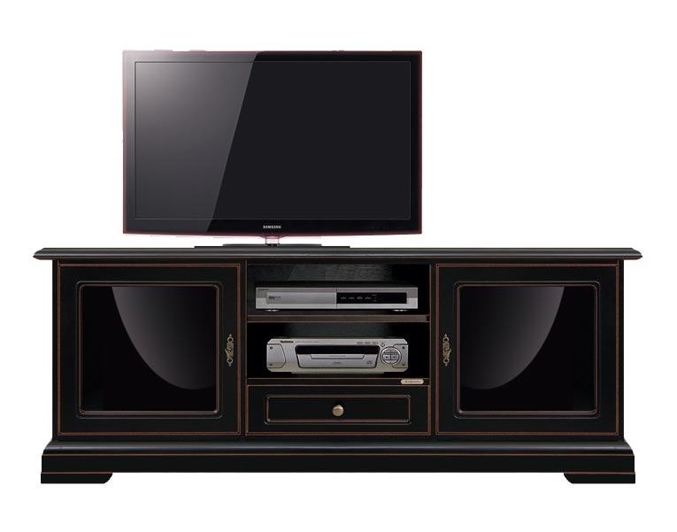 Meuble TV avec plexiglass noir