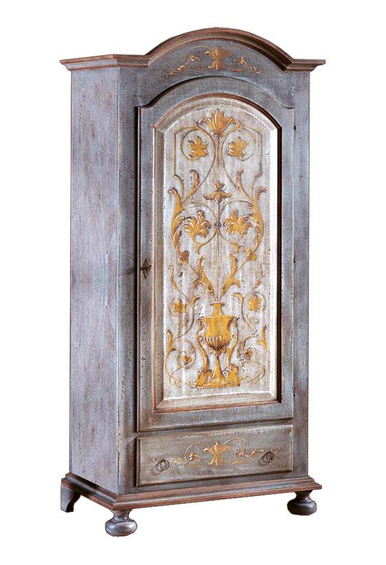 Armoire penderie une porte bleu avec décoration