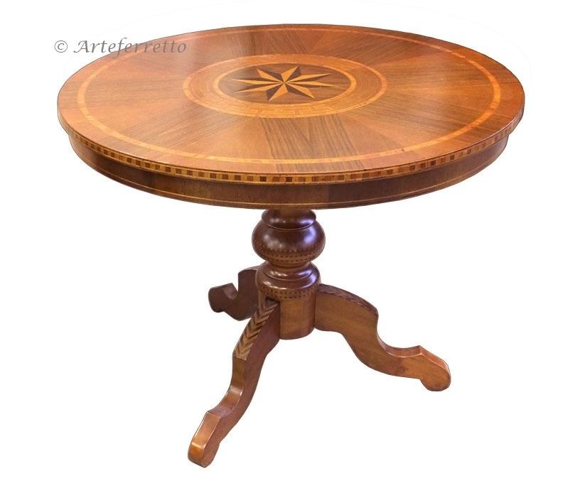 Table ronde fixe marquetée 90 cm