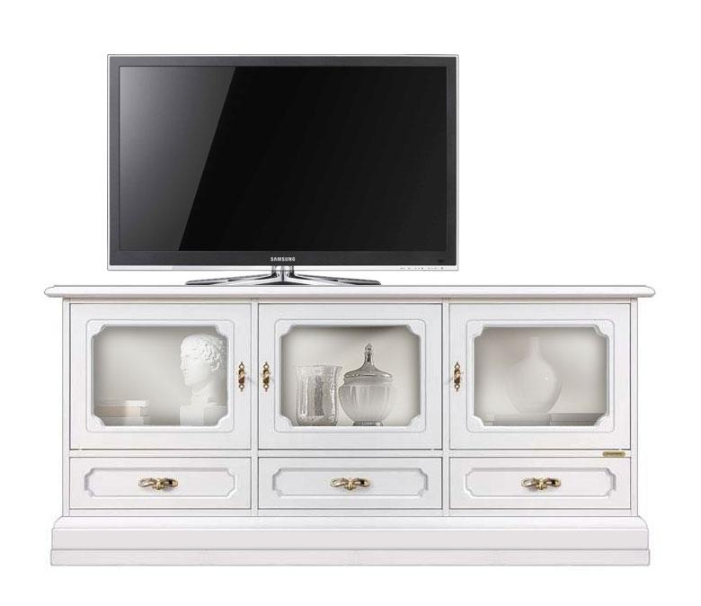 TV-Vitrine aus Holz mit Türen und Schubladen