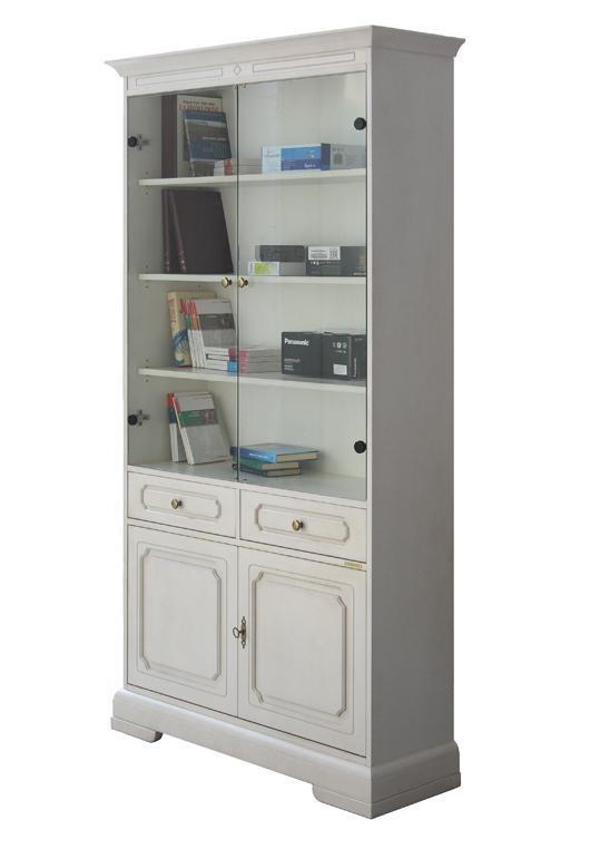 Vitrine bibliothèque avec portes en cristal