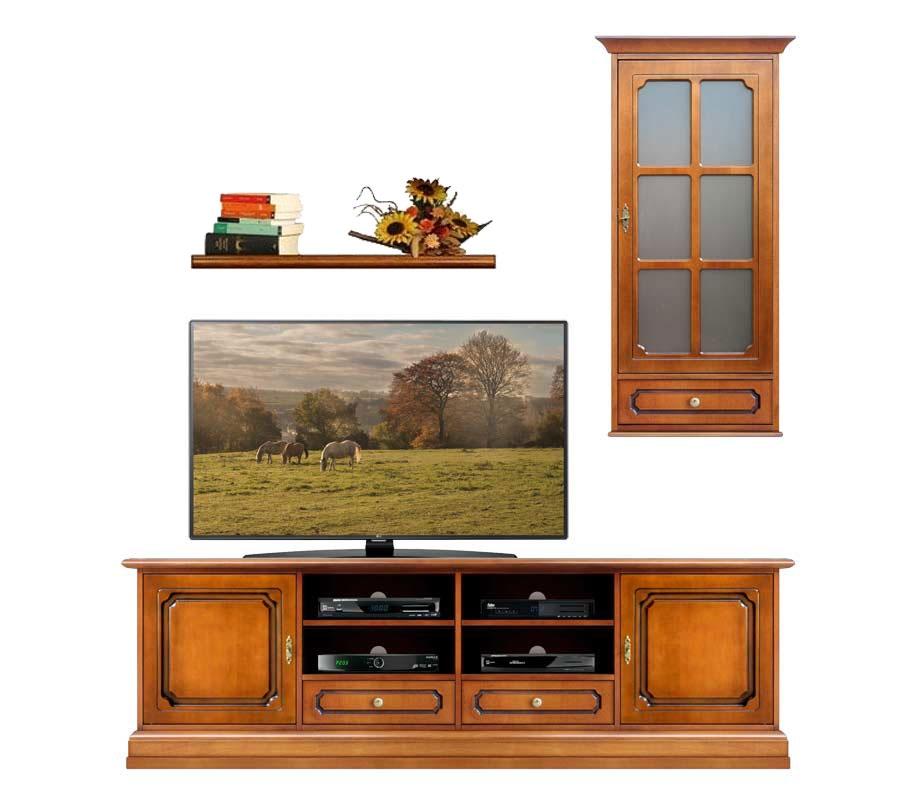 Ensemble meuble Tv mural classique en bois