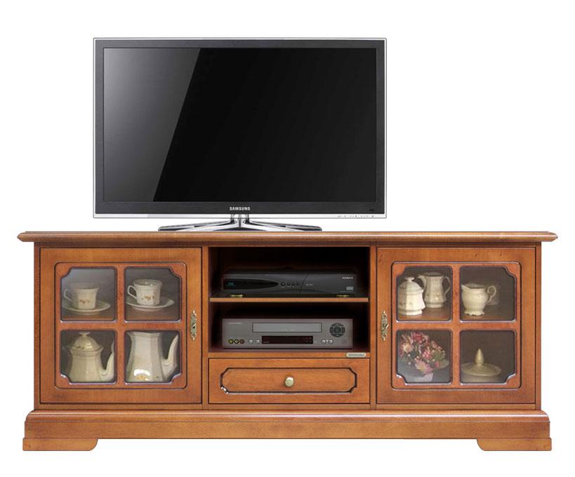 Meuble Tv classique pour salon portes vitrées