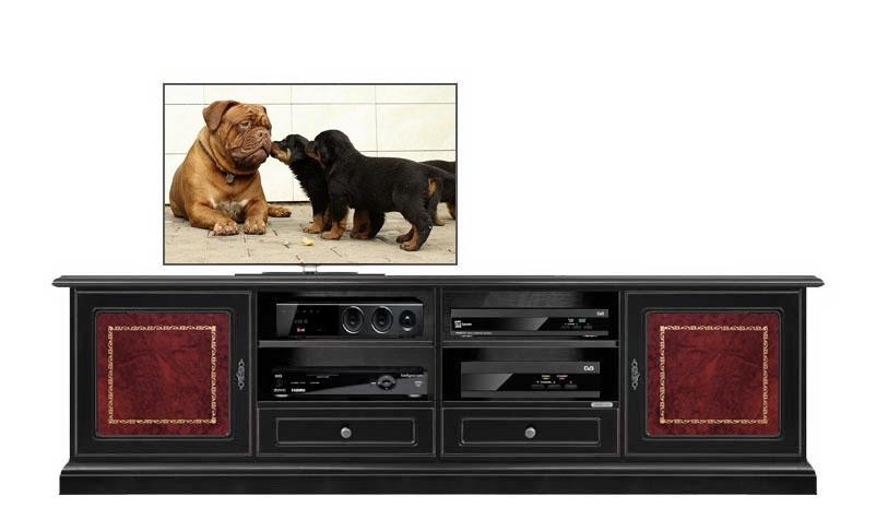 Meuble tv noir avec réel cuir et ornement doré