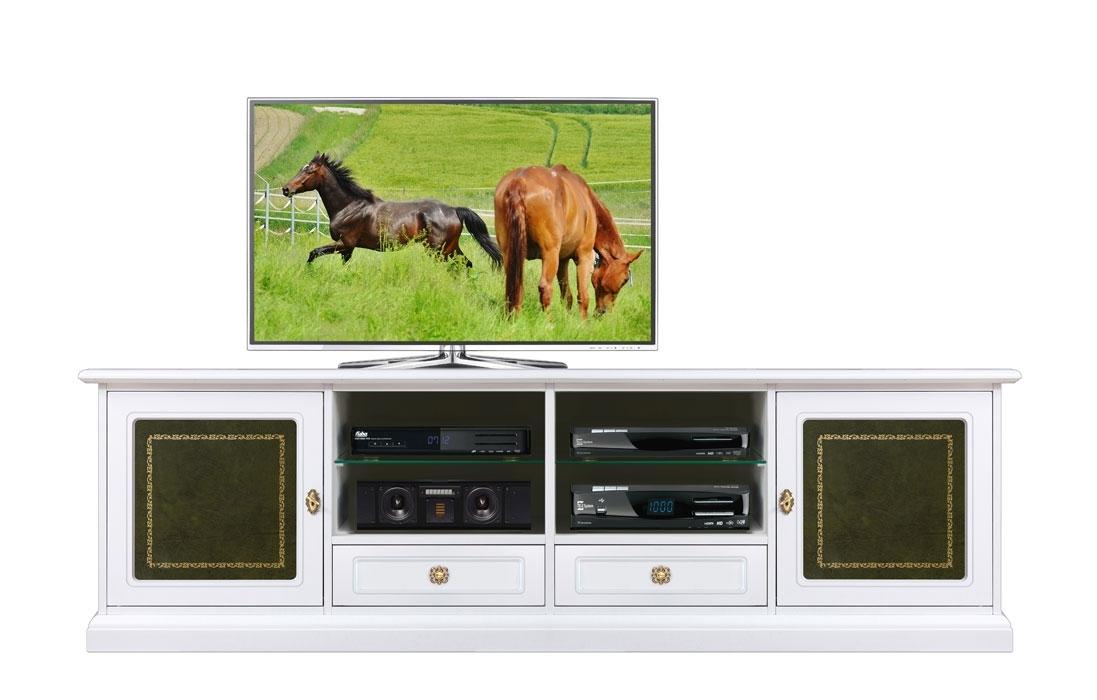 Meuble tv laqué avec réel cuir
