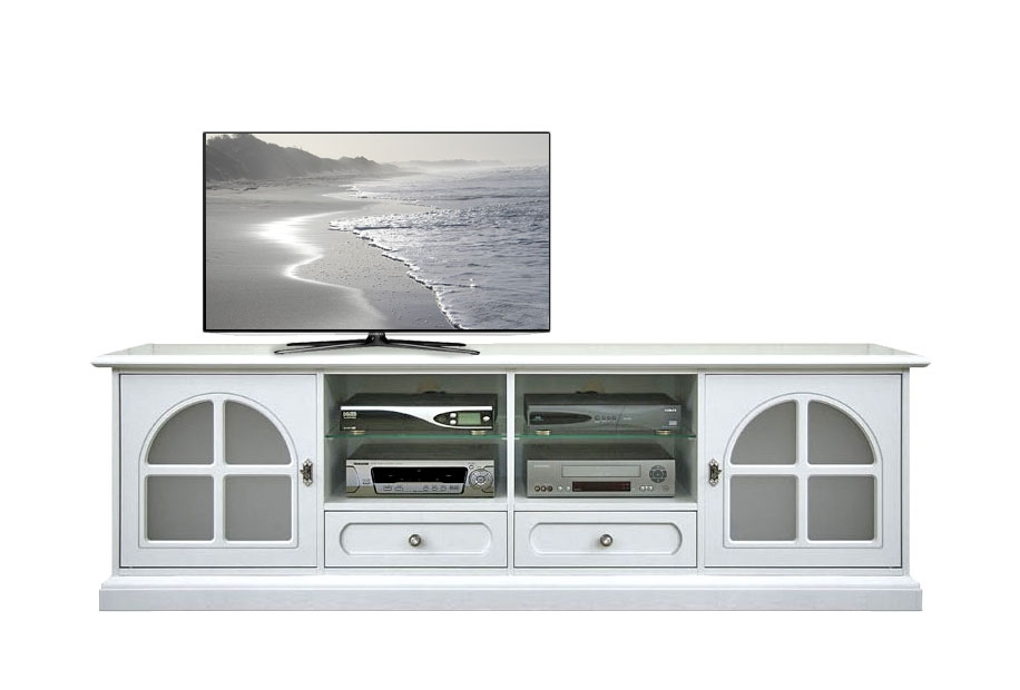 Meuble Tv laqué blanc verre dépoli blanc