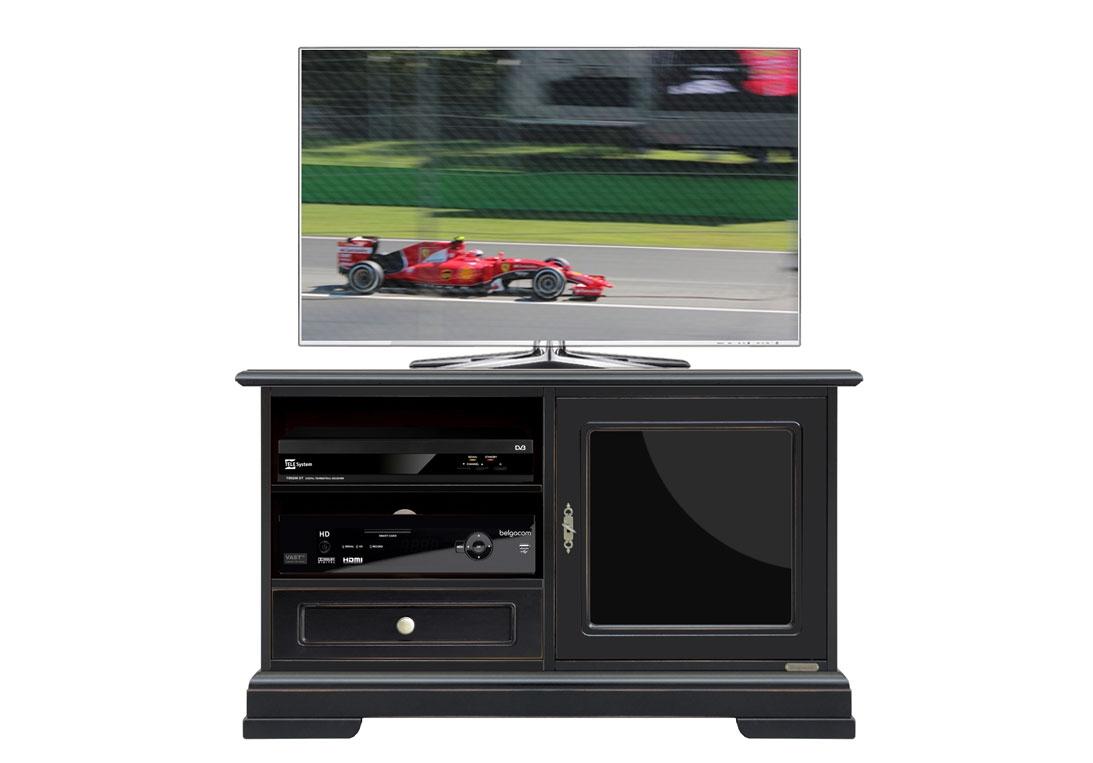 Schwarzes TV-Möbel mit Glastür