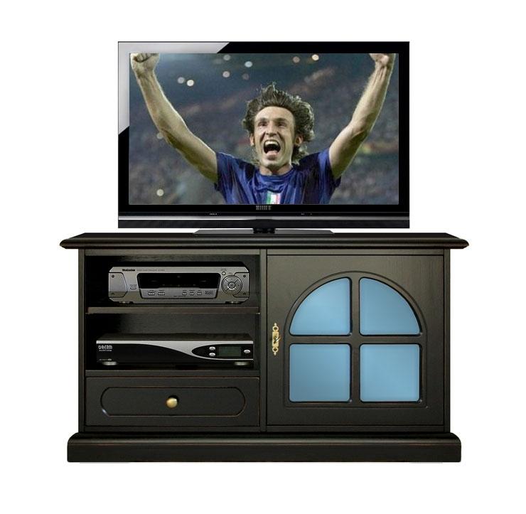 Schwarzes TV-Möbel mit Glastür in Azurblau