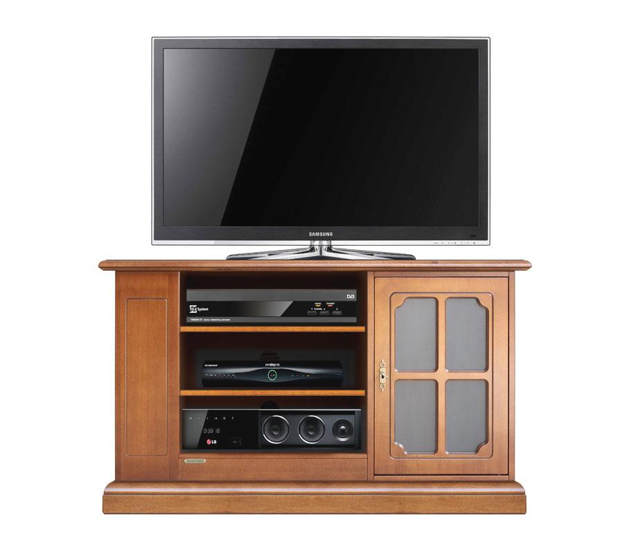 Meuble tv de style avec porte vitrée