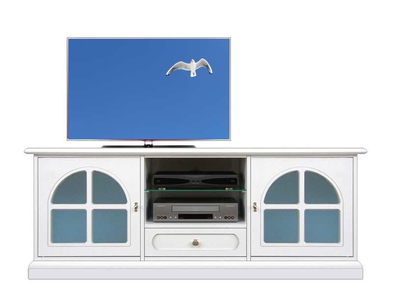 Meuble Tv laqué blanc avec vitre bleue