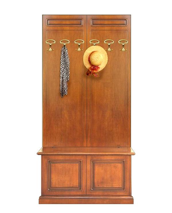 Vestiaire avec coffre de rangement en bois