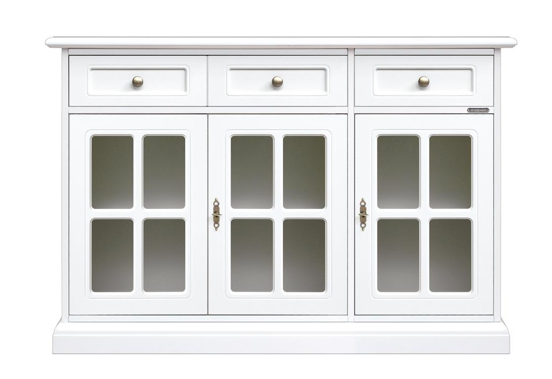 lackierte Anrichte 3 Türen 2 Schubladen im Stil