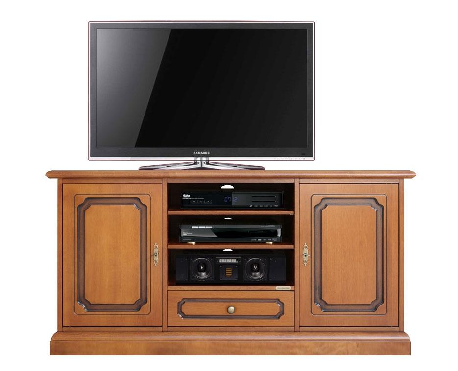 Meuble tv classique 130 cm largeur 2 portes