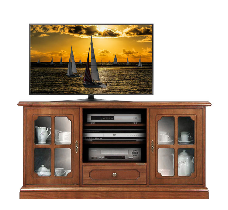 Möbel TV Glastüren 130 cm Stil