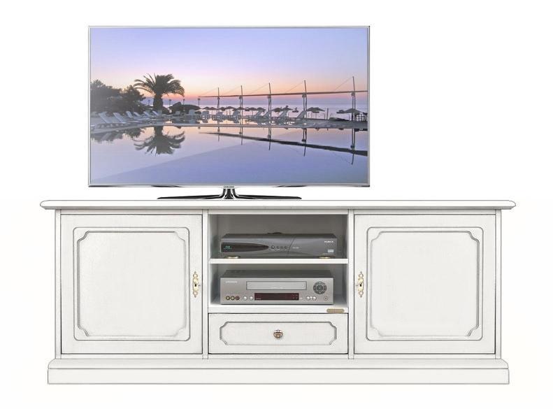 Meuble Tv bas laqué 2 portes 1 tiroir