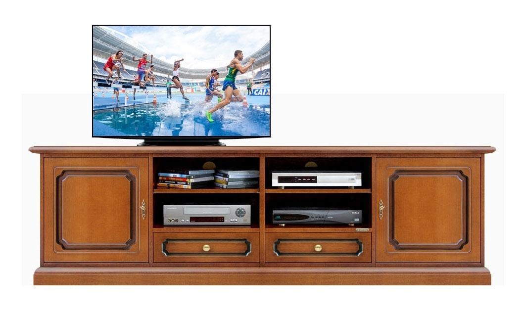 Banc Tv 2 mètres classique en bois