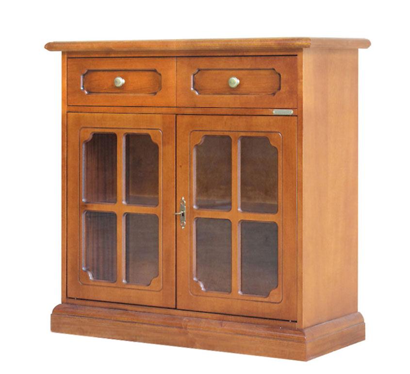 Kleiner Glasschrank 2 Türen mit Gitter und Schublade