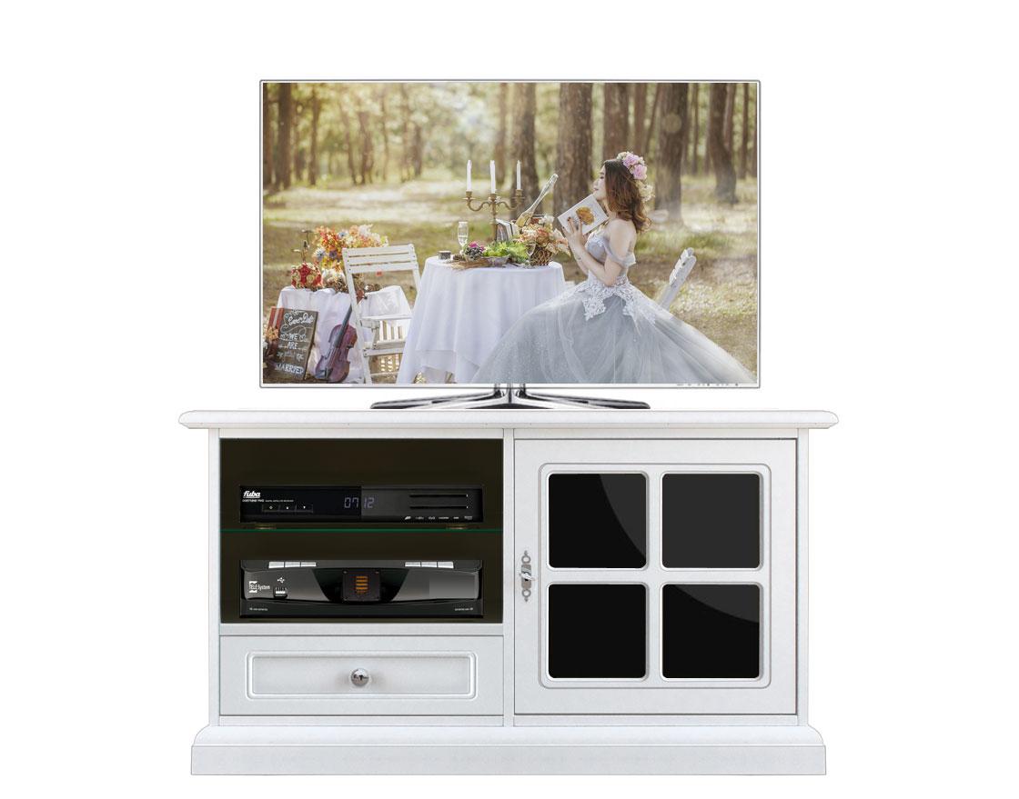 Meuble TV laqué 1 porte plexiglass noir