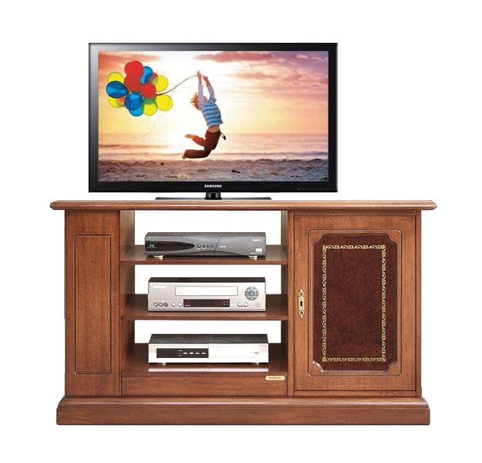 Meuble Tv 1 porte avec cuir véritable