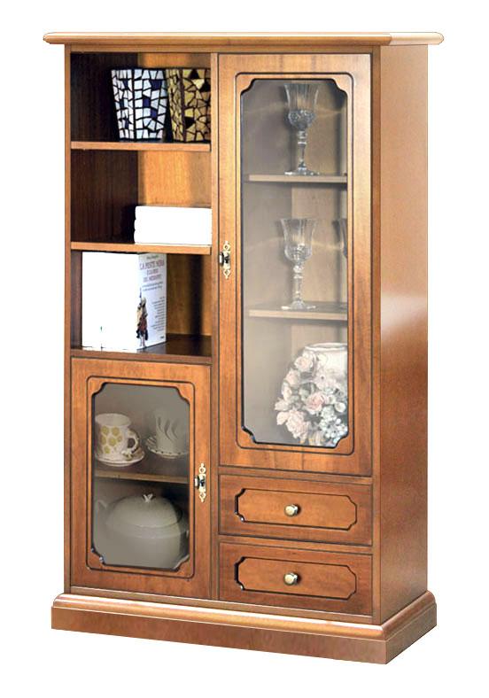 Kleine Glasvitrine 2 Türen 2 Schubladen