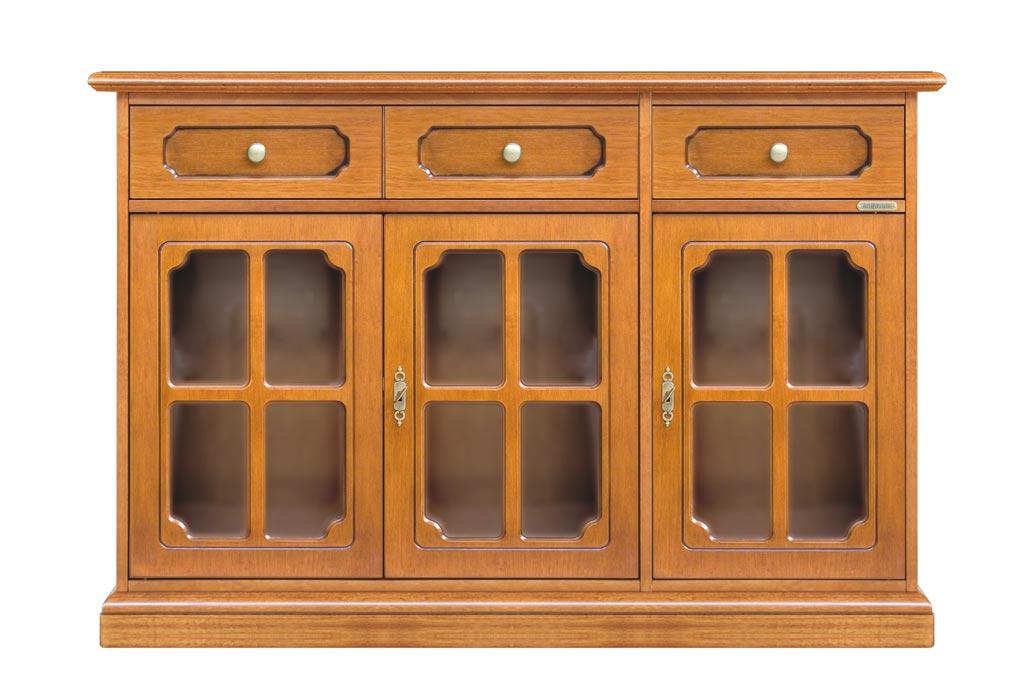 Buffet classique 3 portes vitrées