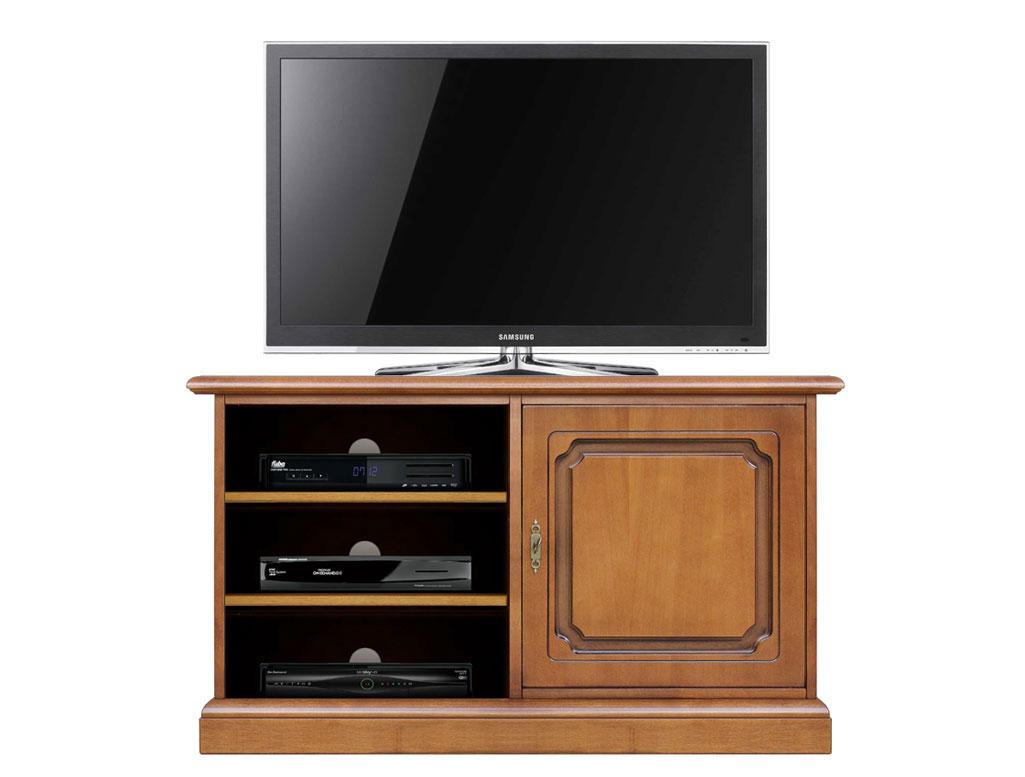 Meuble Tv en bois 1 porte et étagères