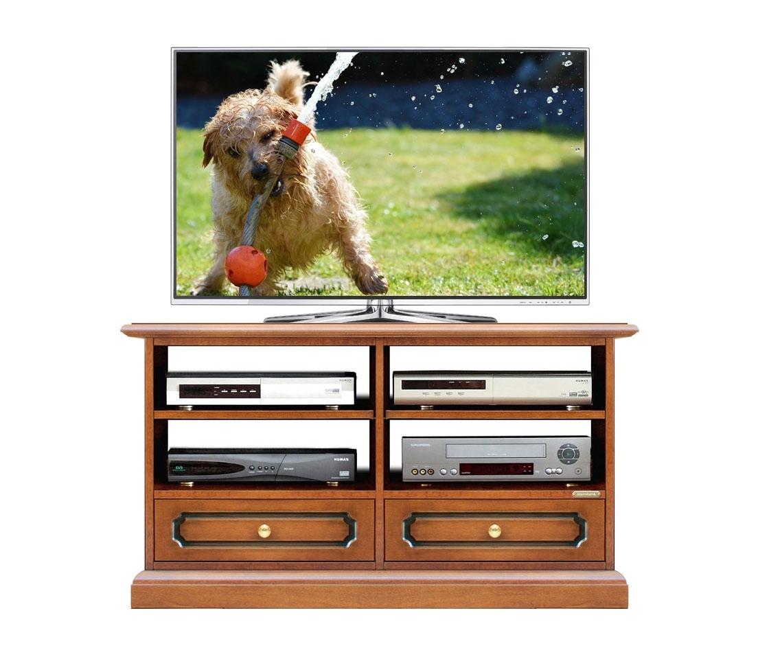 Meuble TV petite taille avec 2 tiroirs et étagères