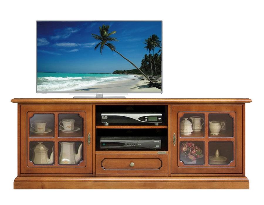 Meuble TV bas classique portes croisées